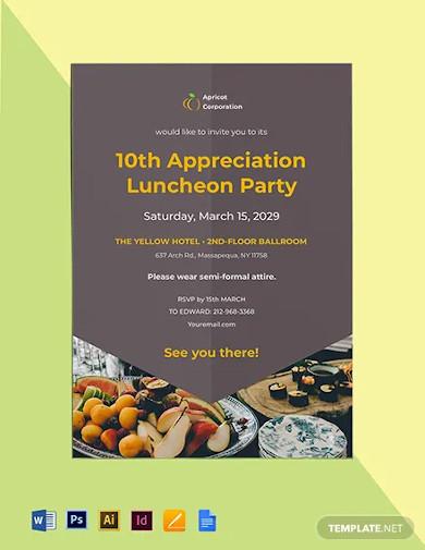 employee appreciation luncheon invitation template