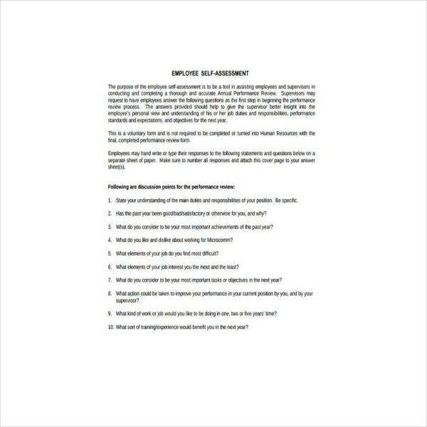 Employee Performance Self-Assessment