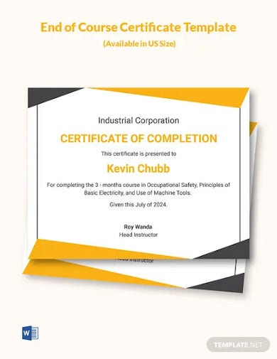 end of course certificate template