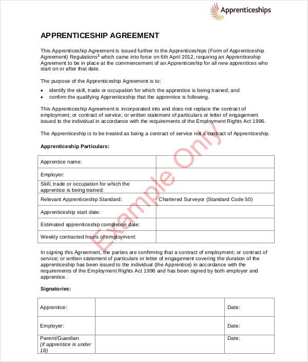example apprenticeship agreement