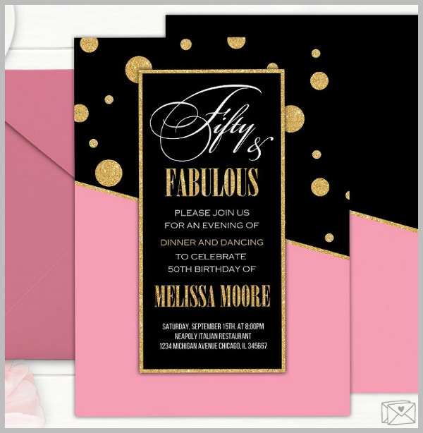 Fabulous Fifty Golden Birthday Flyer Template