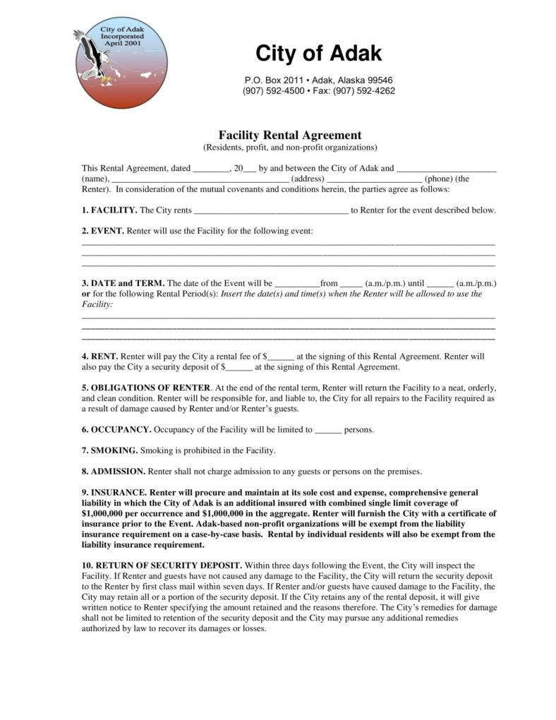 facility rental agreement sample 1 788x1020