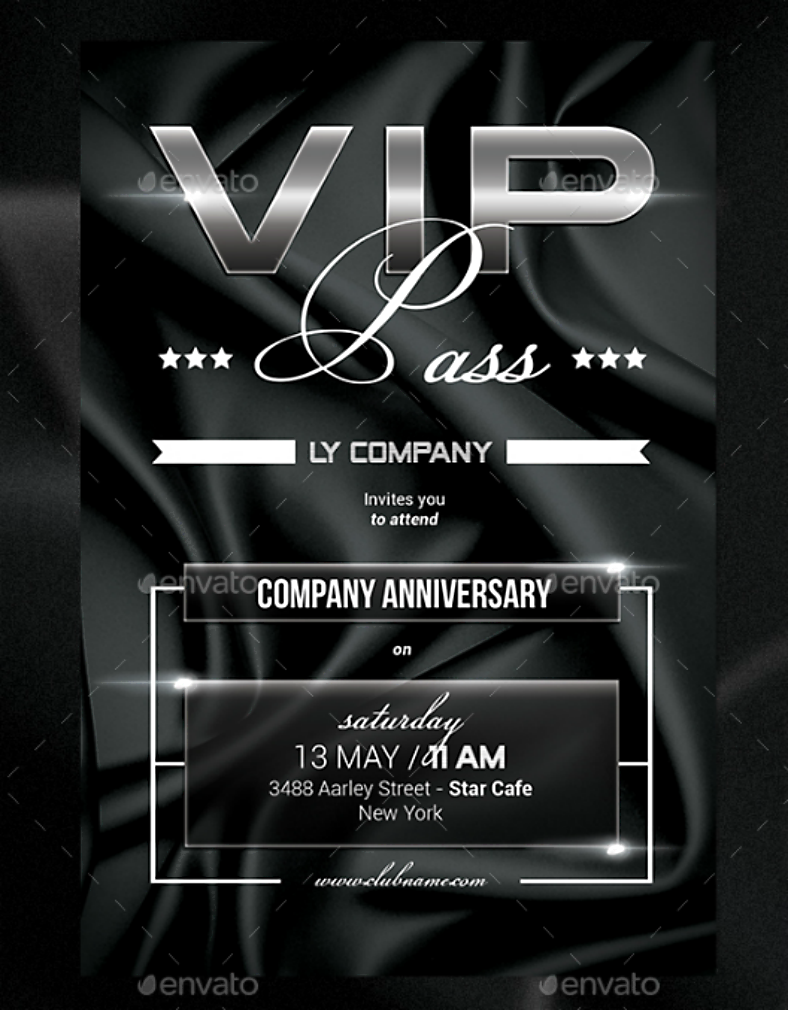 Faux Glossy VIP Pass Invitation Template