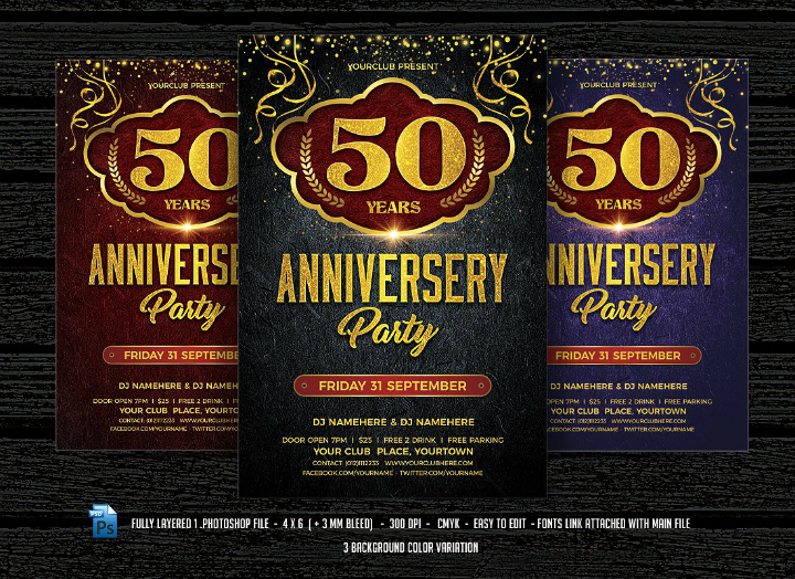 festive 50th wedding anniversary party invitation flyer template