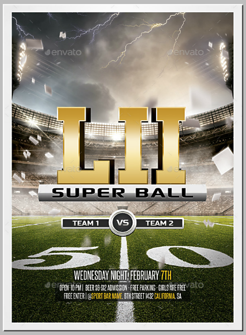 Fiftieth Yard Super Bowl Flyer Template