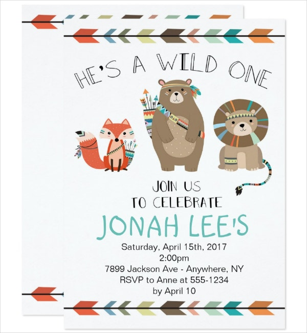 first birthday tribal invitation template