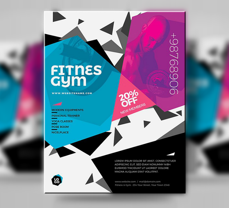 Fitness Gym Hexagon Flyer Template