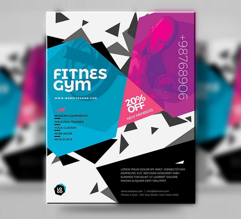 Fitness Gym Hexagon Flyer Template