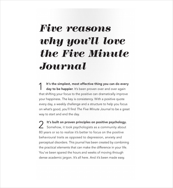 Five-Minute Journal Introduction Template