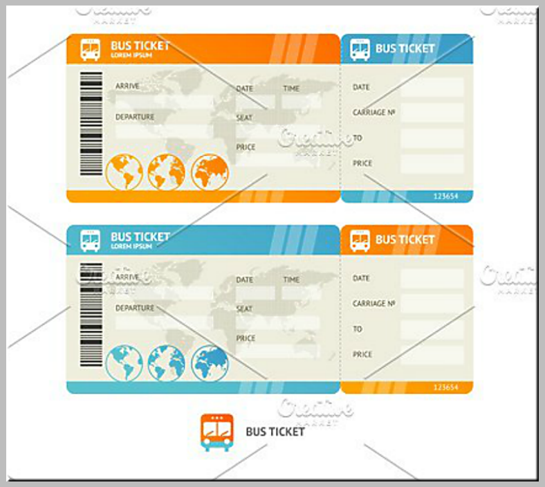 Flat Minimalist Bus Service Ticket Template