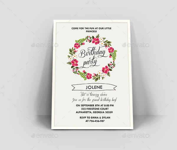 Floral Birthday Invitation Card