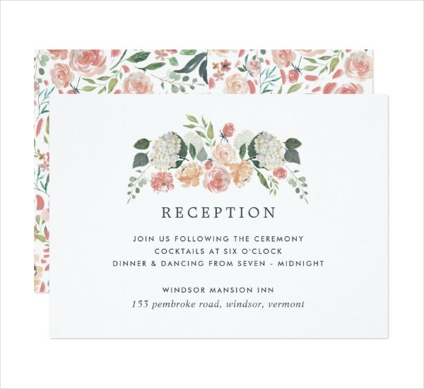 Floral Reception Enclosure Invitation Card