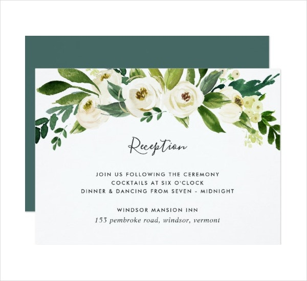 Floral Reception Invitation Card