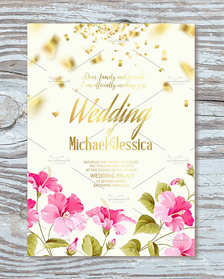floral wedding confetti invitation template 788x980
