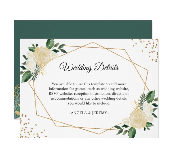 Floral Wedding Reception Details Card