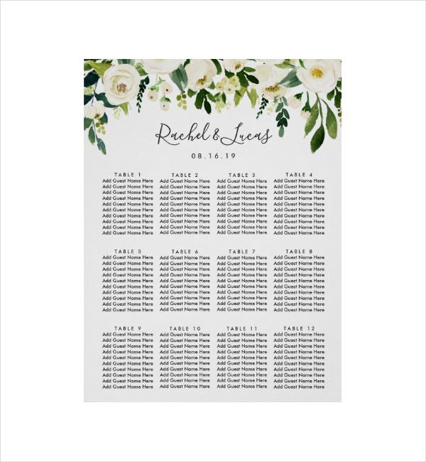 Floral Wedding Seating Chart Design