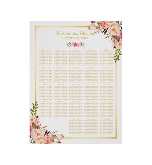 Floral Wedding Seating Chart Template