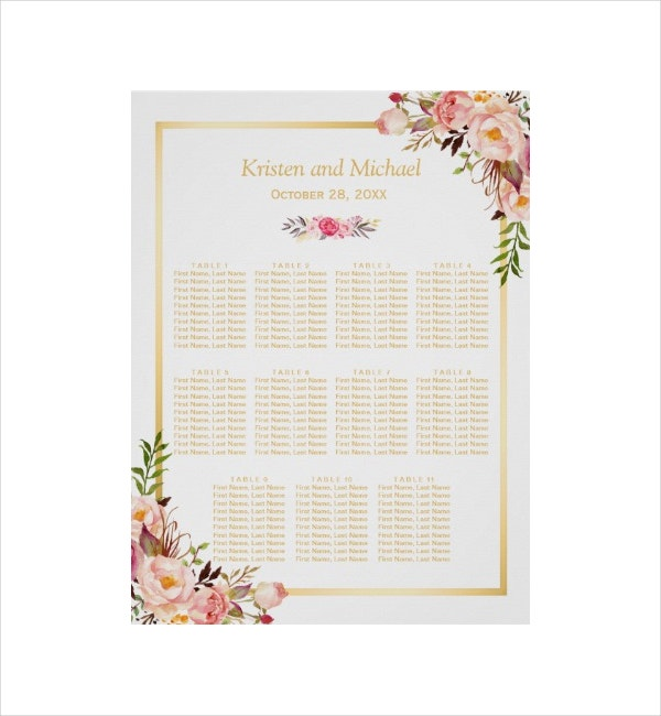 Floral White Seating Chart