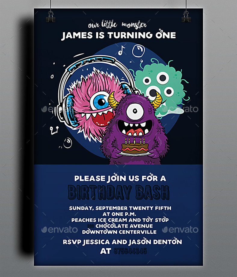 fluffy monsters birthday bash invitation template 788x922