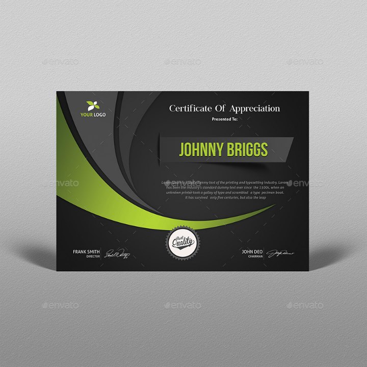 fluid design appreciation and degree certificate template