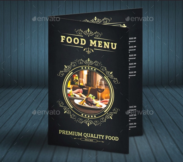 folded menu card