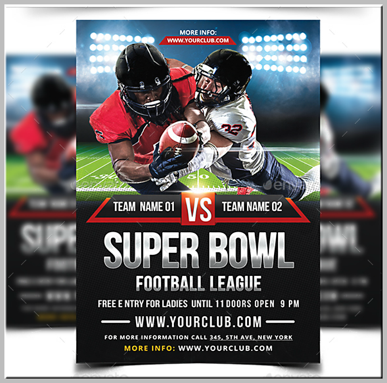 Football Tackle Super Bowl Flyer Template