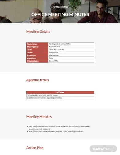 formal business meeting minutes template