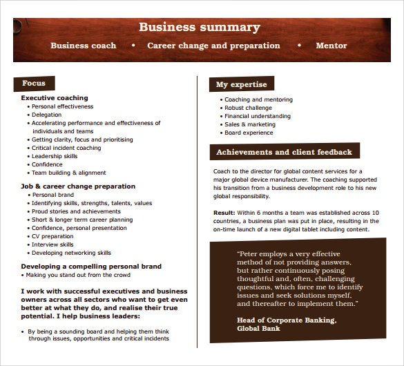free business summary template