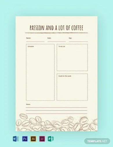 free coffee journal template