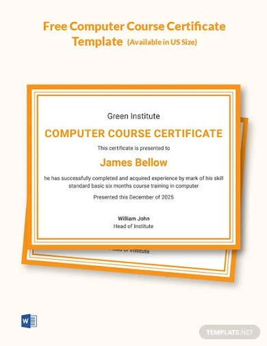 free computer course certificate template
