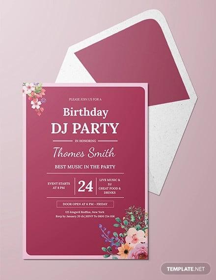 free dj birthday party invitation template