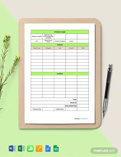 free editable home repair estimate template