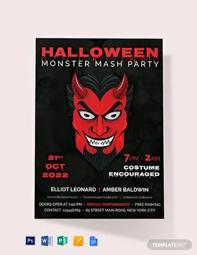 free halloween monster mash party invitation template