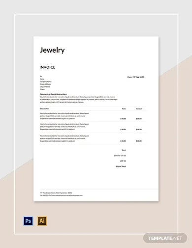 free jewelry invoice template