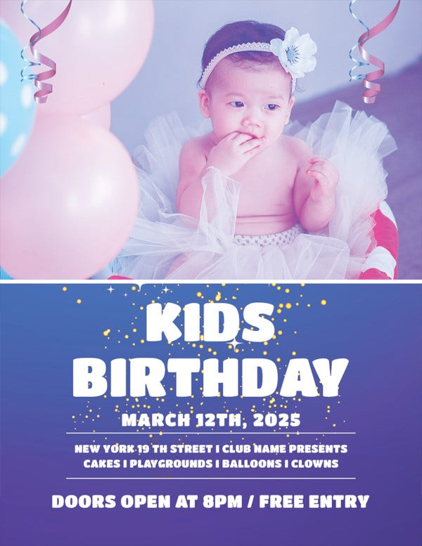free kids birthday party flyer template