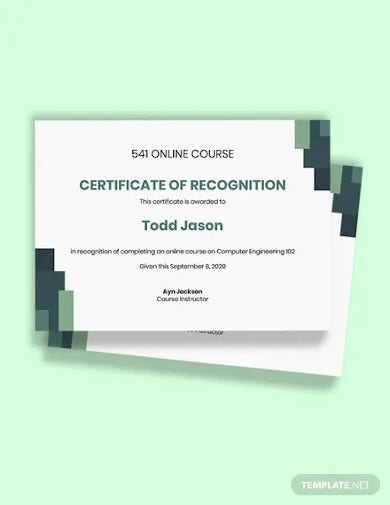 free online course certificate template