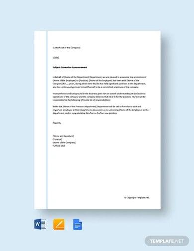 free promotion announcement letter