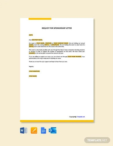 free request for sponsorship letter template
