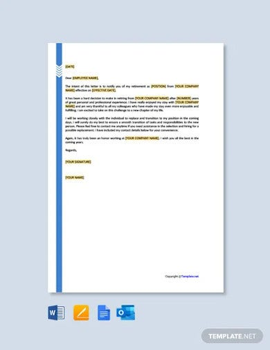 free retirement letter to employer template