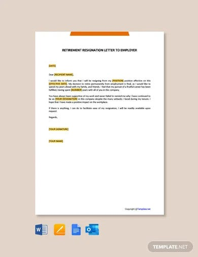 free retirement resignation letter to employer