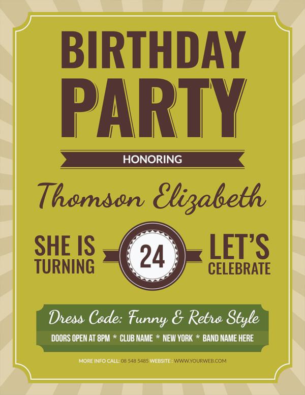 free retro birthday flyer template