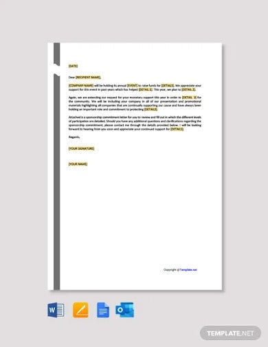10 Sponsorship Request Letter Templates Doc Pages Docs Outlook Pdf Free Premium Templates