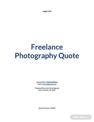 freelance photography quotation