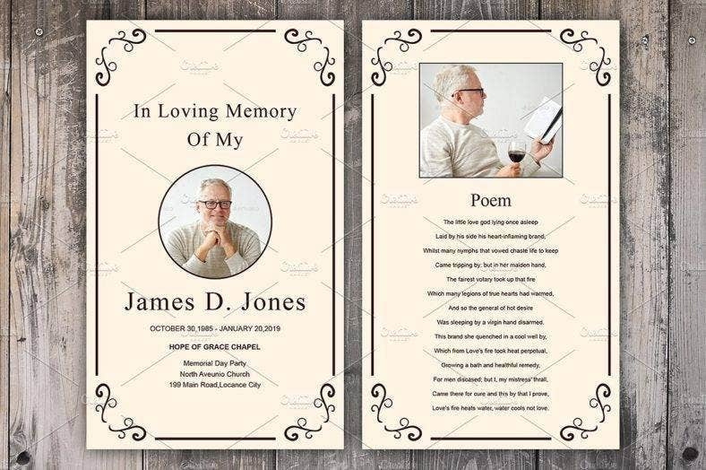 Simple Funeral Prayer Card Template