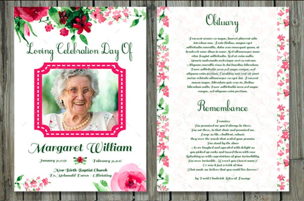 Funeral Program Template/Funeral Card