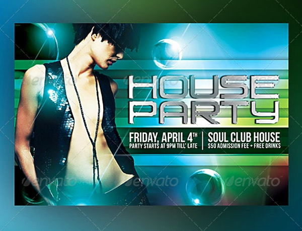 Futuristic House Party Horizontal Flyer Template