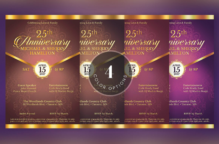 gala 50th wedding anniversary invitation flyer template