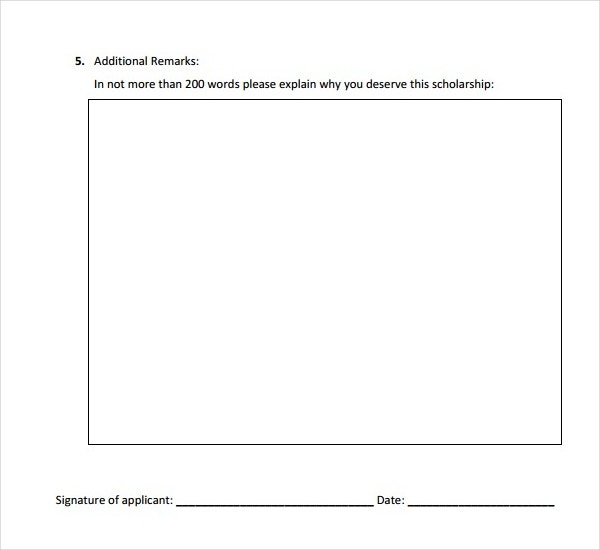 General Scholarship Application Form Template