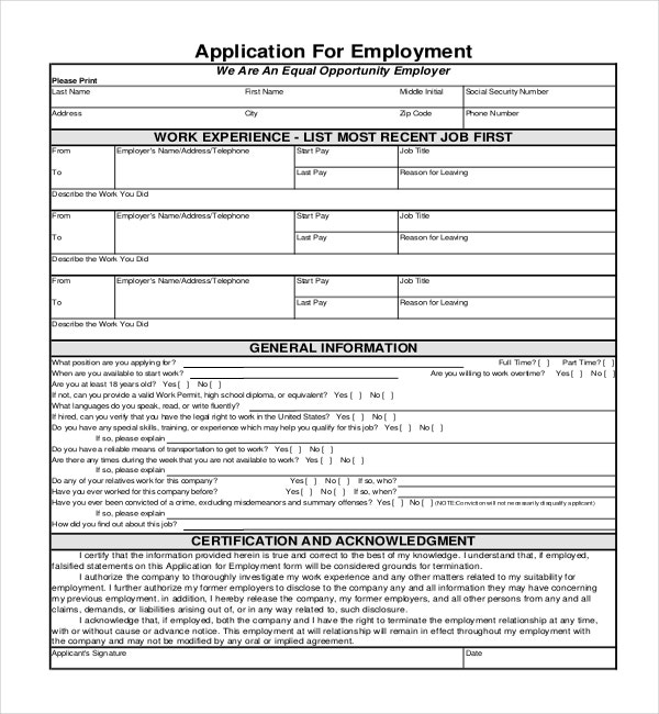 Generic Application for Employment Form