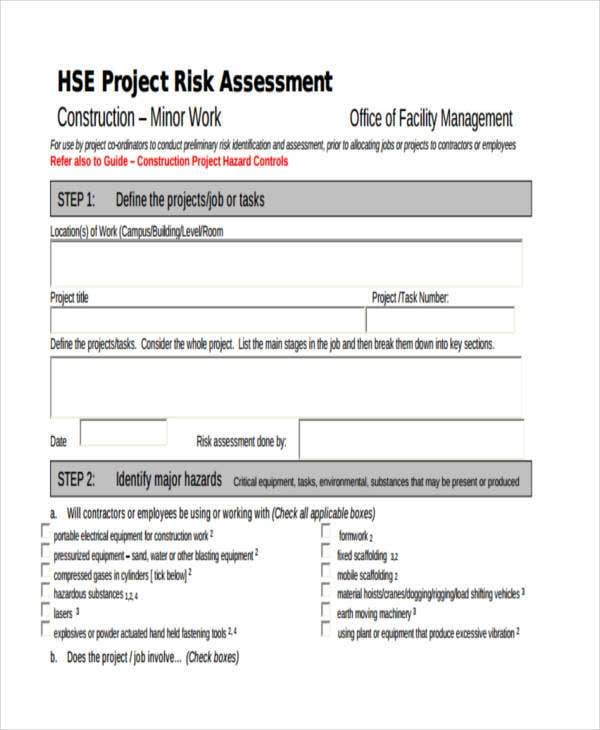Generic Construction Risk Assessment Form